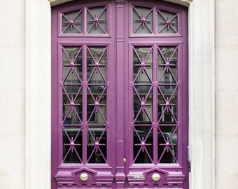Paris Photography - Plum Door, Architecture Photography, Travel Fine Art Photograph, French Home Decor, Large Wall Art, Gallery Wall