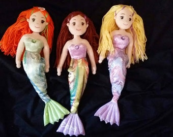 Personalized Mermaid Plush Dolls, Custom Mermaid Dolls