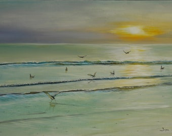 Oil painting, Seascape, Calm morning, Canvas,