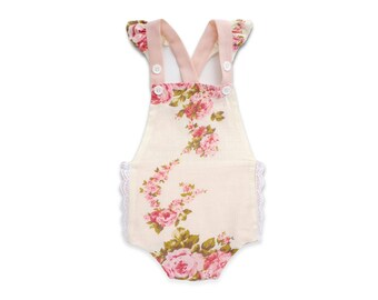 Valentine's Romper Girl Floral Ruffle Romper Pink Rose Bubble Romper Vintage Baby Clothes Retro Toddler Sunsuit Floral Print Girls Romper