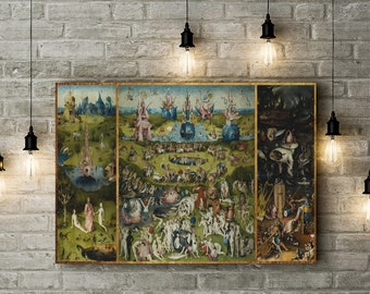 The Garden of Earthly Delights,  Hieronymus Bosch, 1495 Vintage, Custom Raised Canvas Art Piece