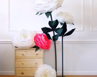 Free Standing DOUBLE Peony Flower/ Stand with Paper Flowers/ Standing Giant Paper Flowers/ Self Standing Paper Flower/ Large Paper Flowers