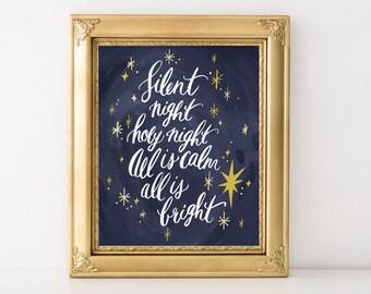Silent Night Holy Night Christmas Art Print