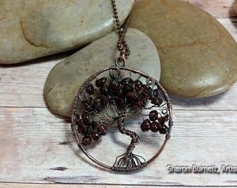 Garnet Tree of Life Copper Wire Wrapped Pendant