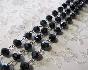 """One Meter 39.5"""" Faceted Dark Blue/Black AB Rondelle Glass 6mm x 8mm Beaded Rosary Link Chain Antique Silver 998"""