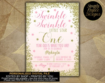 Twinkle Twinkle Little Star First Birthday Invitation