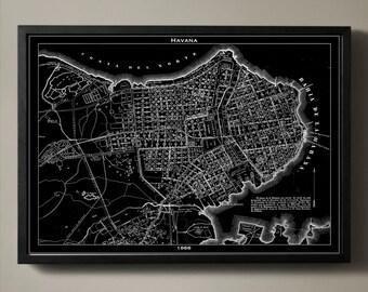 HAVANA Map Print, Black and White Wall Decor