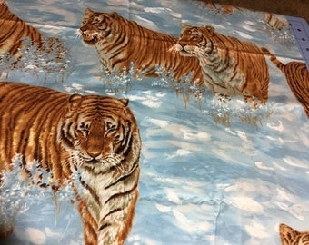 Fabric- Tigers 0n Blue background, Almost 1 yard (35 inches)