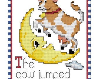 The Cow Jumped Over The Moon Counted Cross Stitch Pattern PDF Download