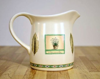 Vintage Pfaltzgraff Naturewood Milchkännchen Spearmint Kamille Garten Liebhaber Gärtner Muster 12 oz 4 Zoll Portfolio hergestellt in den USA