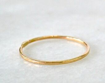 Shimmer Ring - gold hammered stacking ring, silver hammered stacking ring, midi stacking ring, minimalist stacking ring