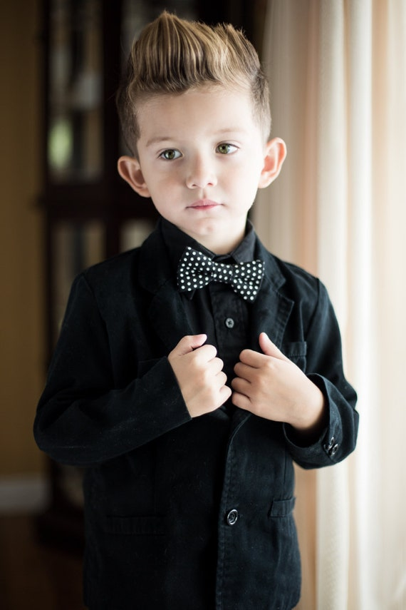 children baby toddler kid boys black white polka dot bow tie