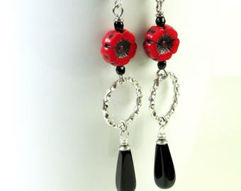 Red and Black Earrings - Long Earrings, Silver Hoop Earrings, Flower Earrings, Lightweight Earrings