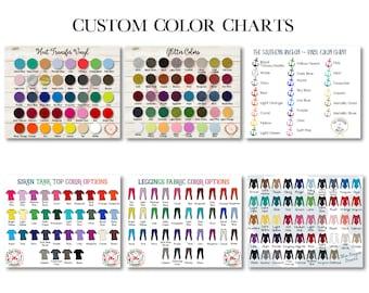 Benutzerdefinierte Farbe Diagramm - benutzerdefinierte Größe Diagramm - Vinyl Farbe Chart - Oracal 651 - Vinyl Farbmuster - Glitter Farbe Diagramm - Kleidung Größendiagramm