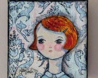 """Mixed Media Painting """"Mary"""" Skull Girl Series 4"""" x 4"""""""