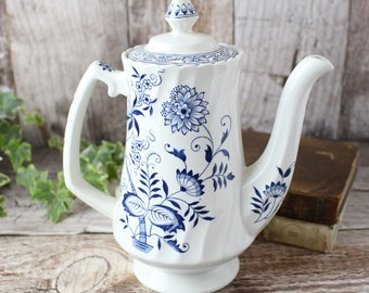 Vintage Coffee Pot, Ironstone Coffee Pot, Blue and White Coffee Pot, Wood and Sons Coffee Pot