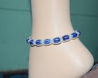 Ankle Bracelet Natural Hemp & Blue Glass Beads, Hemp Anklet, Beaded Hemp Anklet, Blue Anklet