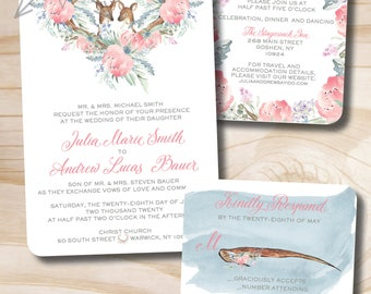 Rustic Watercolor Floral Deer and Antlers Wedding Invitation and Response Card // Dusty Blue and Blush // Doe and Buck // Floral Wedding