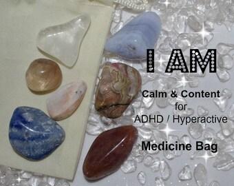 Crystal Medicine Bag I AM Calm & Content  / ADHD / Hyperactive
