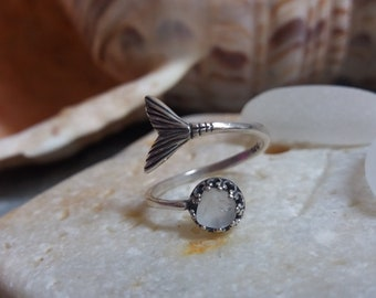 Mermaid Tail Sterling Silver Seaglass Ring
