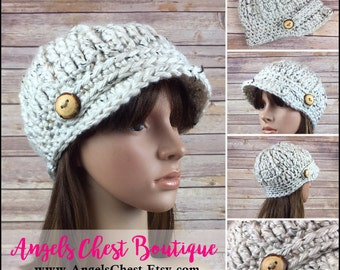 READY TO SHIP  - Crochet Womens Newsboy Hat Beanie in Oatmeal  with wooden buttons - Great gift for her - Handmade  by Angel Chest Boutique