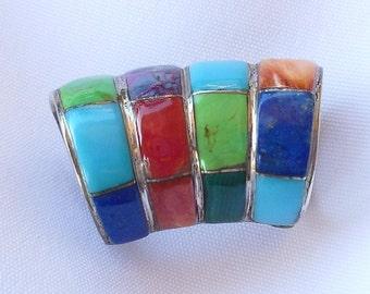 LA Sterling Tube Pendant  925 Silver Turquoise Lapis Lazuli Coral Malachite Contemporary Jewelry