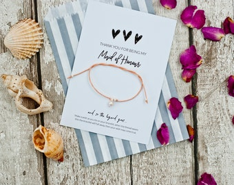 Bridesmaid card, Thank you for being my maid of honour gift, wish bracelet, bridesmaid bracelets, bride tribe, bridal party, personalized