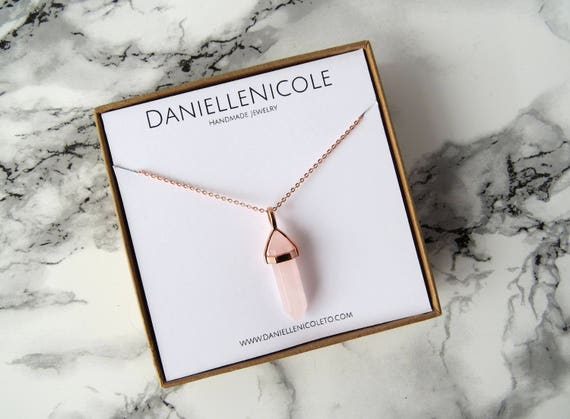 Rose Quarts Pendant Necklace, Pendant Necklace, Rose Gold Pendant Necklace, Simple Necklace, Layering Necklace, Boho Jewelry, Boho Chic