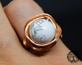 Wire wrapped ring White turquoise ring Copper ring Steampunk ring Wire wrap ring Mens ring Womens ring Magic ring Best gift For her