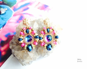 Colorful beaded earrings, gold, pink, blue beadweaving earrings, beadwork jewellery, chandelier, earrings, stud, handmade jewelry for her