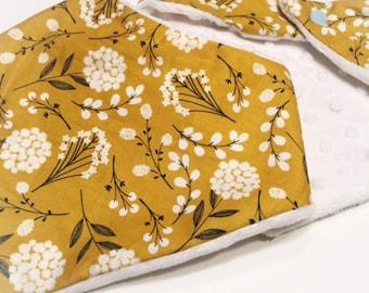 Mustard Floral Drool Bib- Drool Bib- Bandana Bib - Baby Bandana -  Baby Gift- Baby Shower Gift