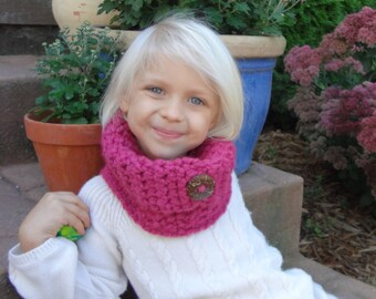 Raspberry Neck Warmer, Little Girl's Cowl, Pink Toddlers Scarf, Neck Wrap, Little Girl's Neck Warmer, One Size Fits Most Girls 2-6 years old