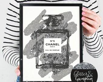 Abstract fashion perfume bottle paris faux silver glitter splash gift idea , home decor, Fashion Print, gift idea