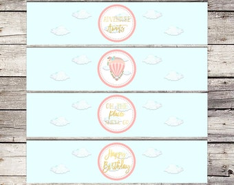 Hot Air Balloon, Water Bottle Label, Printable, Birthday, Water Bottle Labels, Balloon labels, wrappers, birthday party, instant download