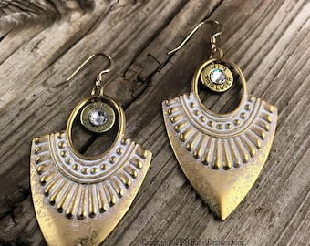 Bullet Earrings, Golden Cleopatra Bullet Earrings WIN-9MM-B-CBE, 9mm Earrings, 9mm Bullet Earrings, Cleopatra Earrings, Cleopatra Jewelry