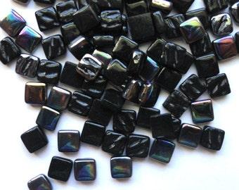 100 8mm Black Mini SQUARES Recycled Glass Mosaic Tiles//Mosaic Supplies//Craft Supplies//Mosaic Pieces//Crafts