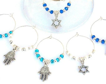 6 Judaica wine glass charms, Star of David, Hamsas, Jewish wine charms, perfect Hostess gift, housewarming present, Magen