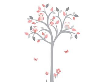 Grey Tree Wall Decal, Girl Owl tree wall decal, Pink and grey wall decal, Owl tree wall sticker, Girl Owl Nursery, Shades of Coral Design