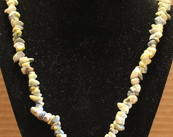 Yellow Serpentine and Jasper Chipped Stone Necklace