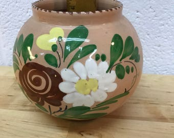 Hand Crafted Italian Painted Pottery Round Vase