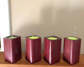 Pretty little Purple Heart tea light candle holders.