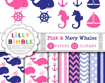 Pink whale clipart and digital papers navy whales, sailboat, anchors, frames, birthday invite INSTANT DOWNLOAD