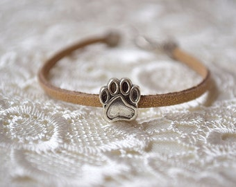 Charm paw leather bracelet Pandora animal foot claw jewelry dog puppy wristband Cat Mom Jewelry Pet Lover gift Pet loss gifts paw print