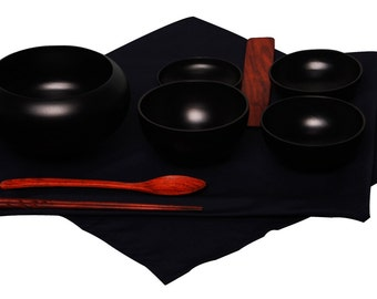 Mango Wood Monk's Oryoki Bowl Set