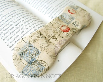 Book Accessory - Postmark Book Weight, French cottage chic beige weighted page holder, snail mail reading tool, gift for bookworm, readers