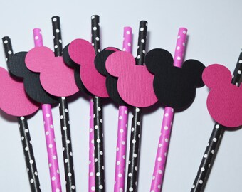 Minnie Mouse Party Decorations, Mickey Mouse Theme Party, party straws, Minnie Mouse Straws, Party Straws Decoration, Mini Mouse theme party