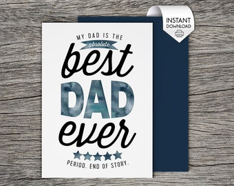 Printable Father's Day Card - Best Dad Ever!