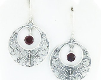 Sterling Silver Filigree Earrings Red Garnet Gemstone Signed and Free Shipping