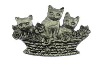 Vintage Pewter Cat Brooch, Large Silver Cat Brooch, Vintage Cat Brooch, Cat Pin