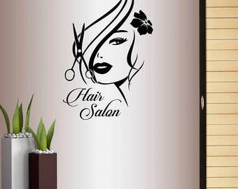 Wall Vinyl Decal Home Decor Art Sticker Hair Salon Logo Girl with Stylish Hair Scissors Haircut Hair Dresser Removable Mural Design 1754